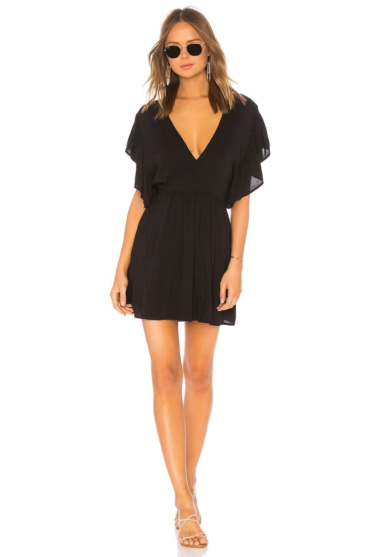 INDAH Nile Solid Wrap Mini Black Dress