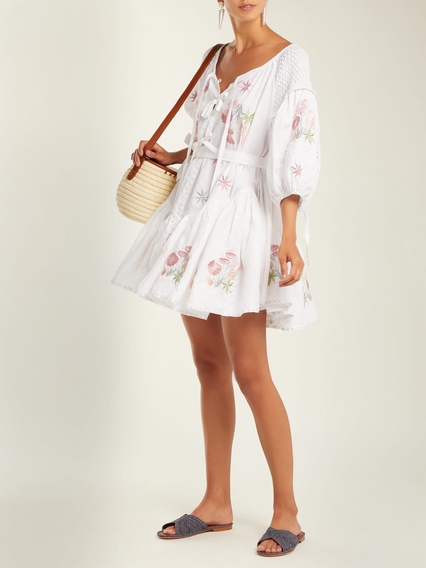 INNIKA CHOO Balloon-sleeve Linen Peasant White Dress
