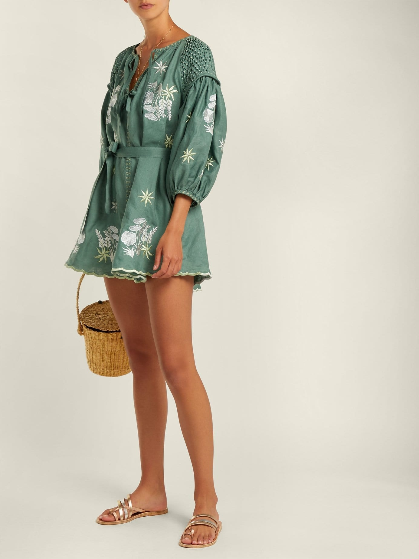INNIKA CHOO Embroidered Linen Smock Green Dress