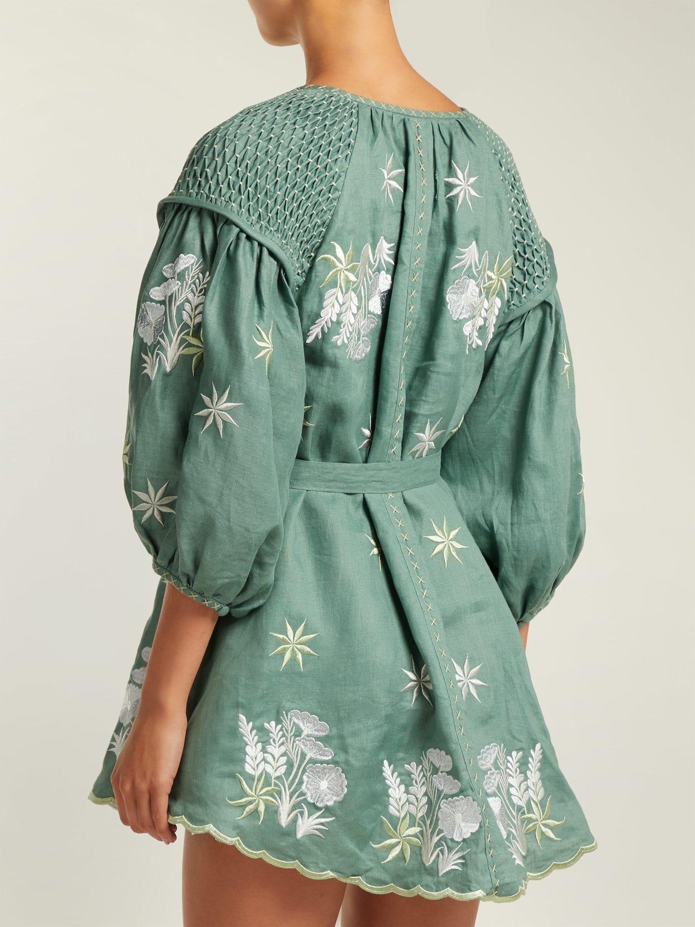 4bde45fd52d INNIKA CHOO Embroidered Linen Smock Green Dress - We Select Dresses