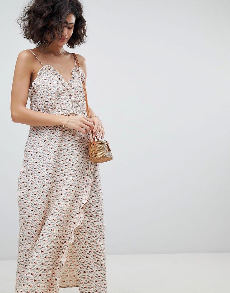 INTROPIA Midi Slip Pink / Printed Dress