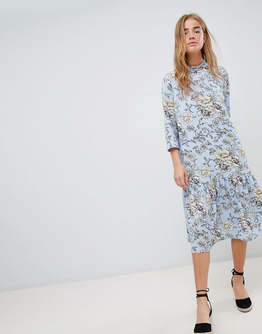 JDY High Neck Floral Multicolored Dress