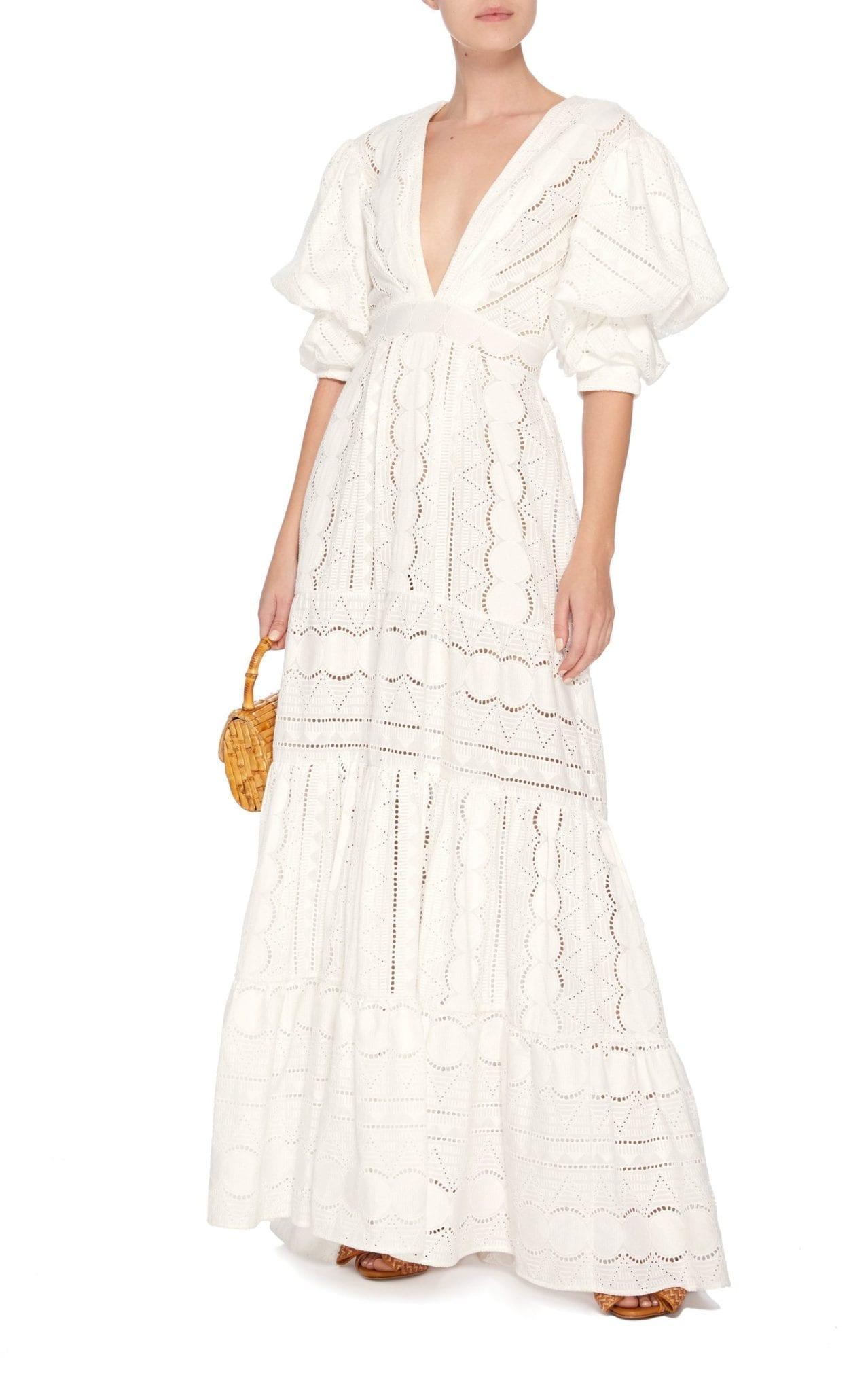 JOHANNA ORTIZ M'O Exclusive Mademoiselle Sophie Cotton Eyelet White Dress