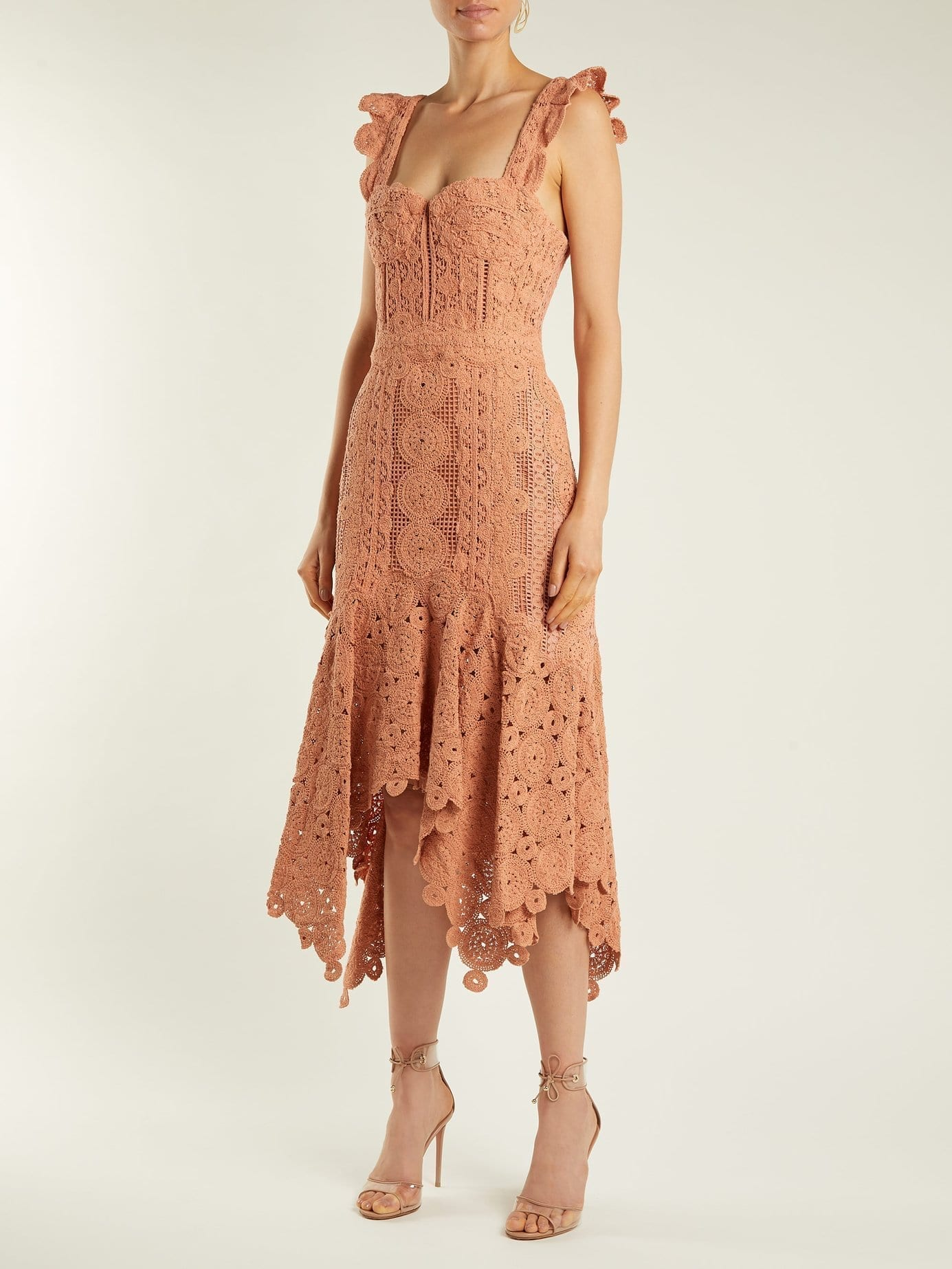 JONATHAN SIMKHAI Cotton-Macramé Lace Handkerchief-Hem Coral-Peach Dress