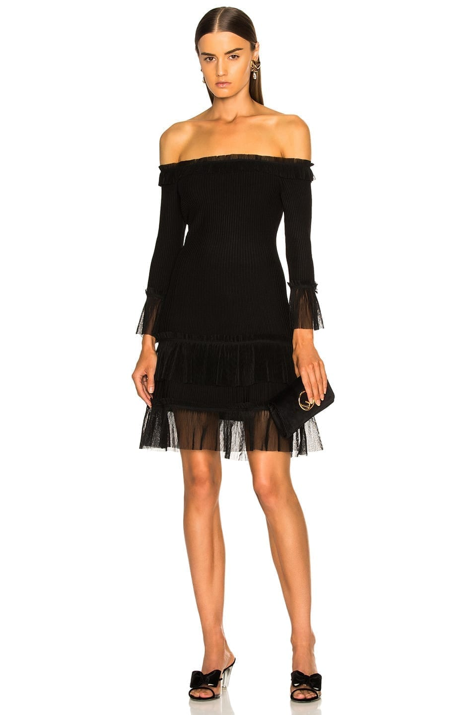 JONATHAN SIMKHAI Pleated Off Shoulder Fit and Flare Black Dress