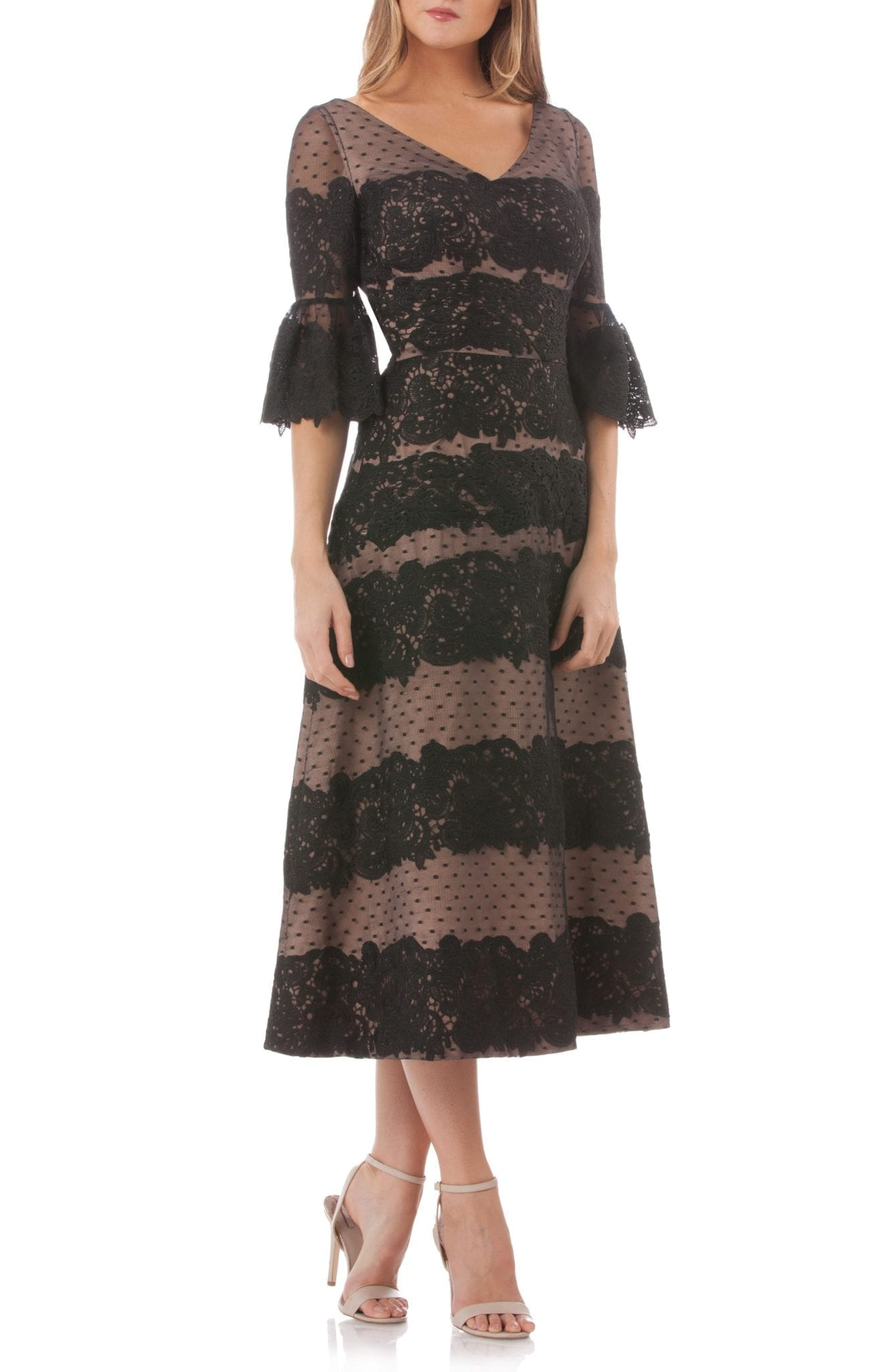 JS COLLECTIONS Embroidered Lace Tea Length Black Dress