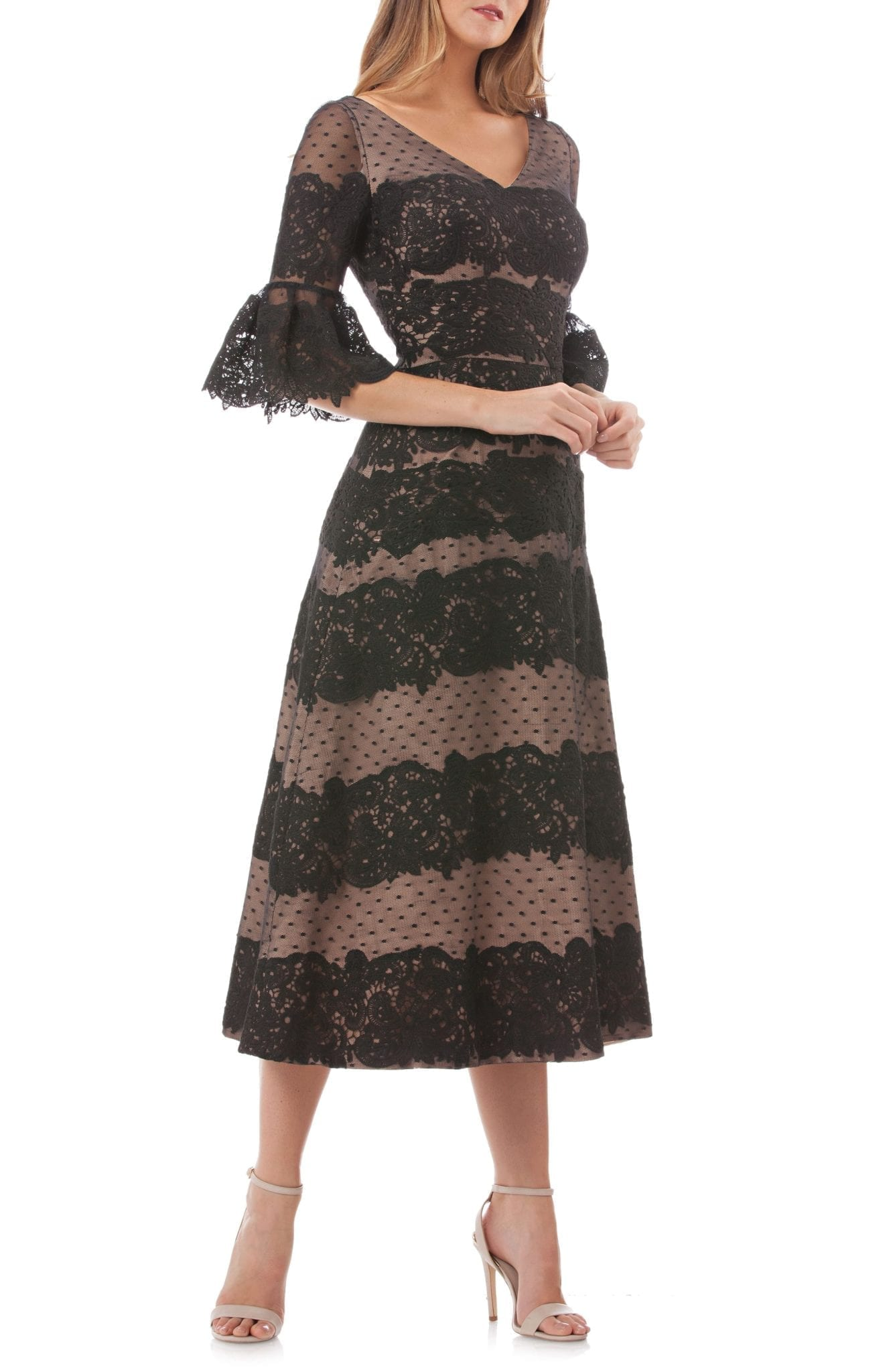d37c66fd097 JS COLLECTIONS Embroidered Lace Tea Length Black Dress - We Select ...