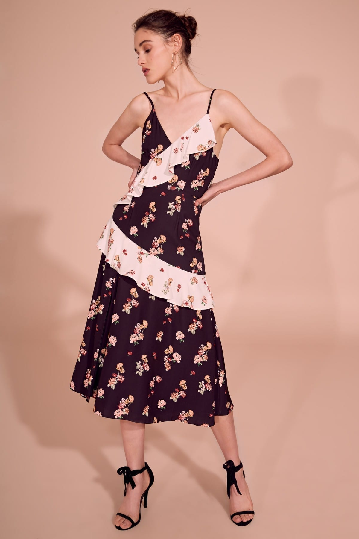 KEEPSAKE Evolve Midi Black / Floral Printed Dress