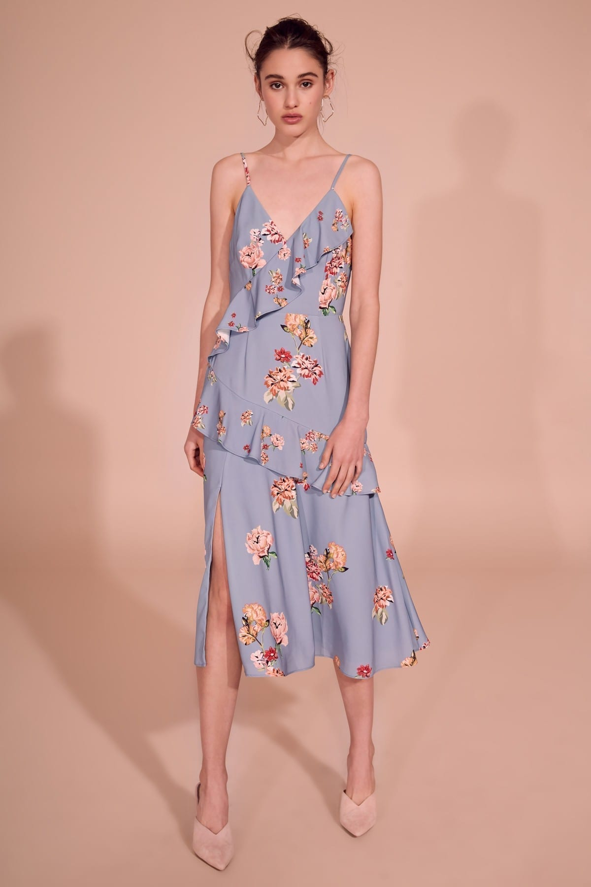 KEEPSAKE Evolve Midi Blue / Floral Printed Dress