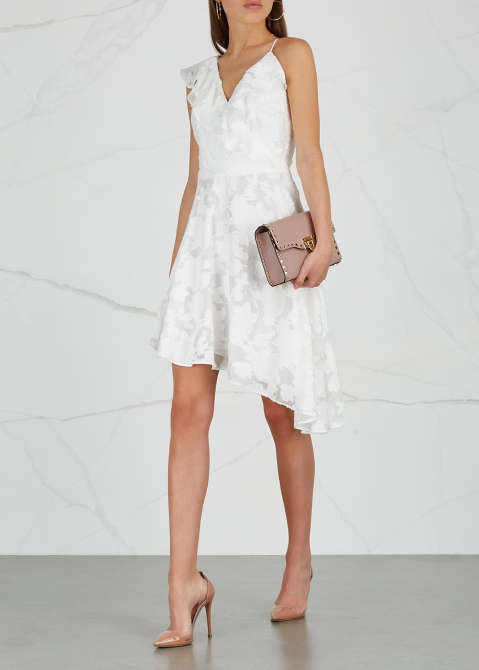 KEEPSAKE Radar Floral Devoré Organza Mini White Dress