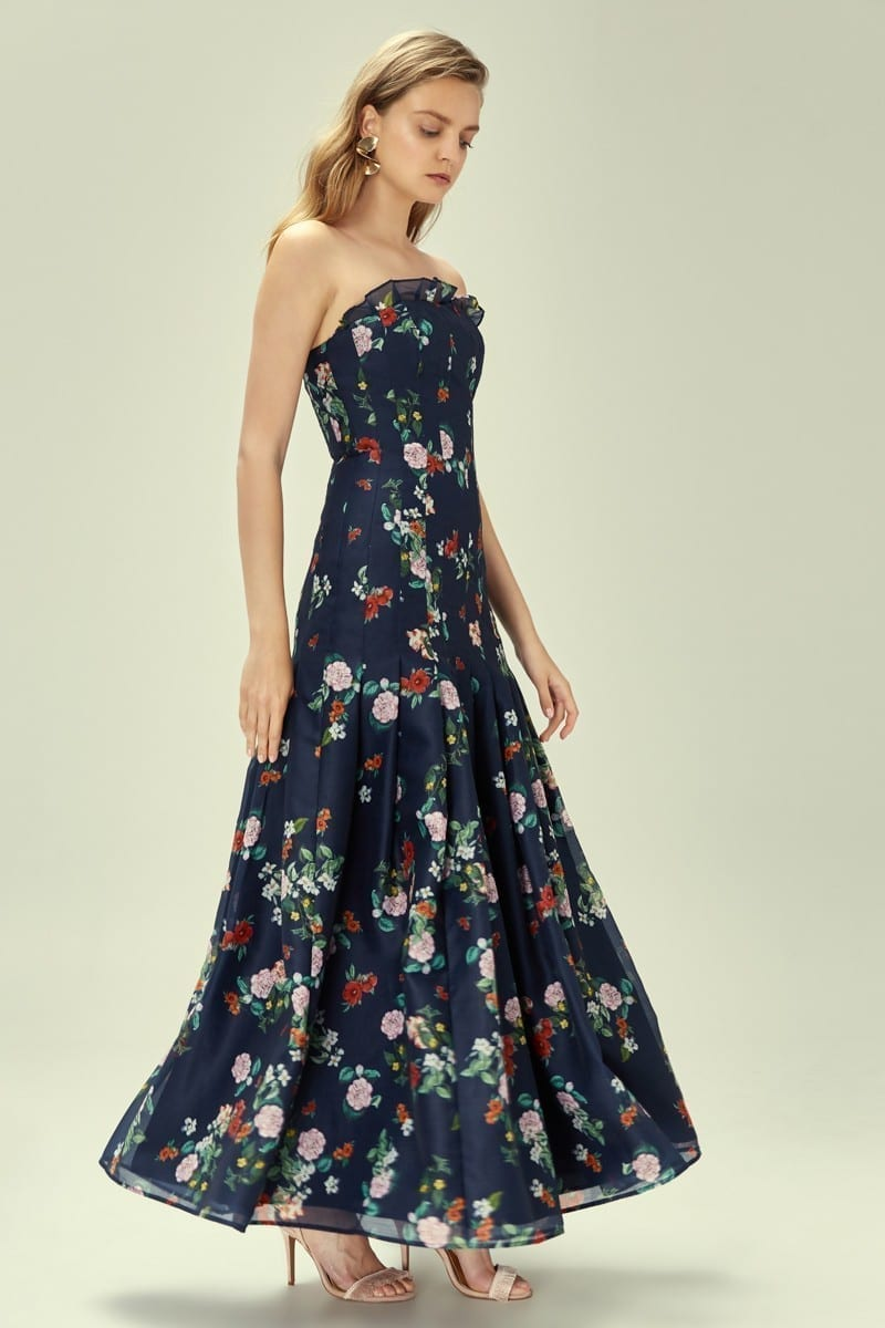 KEEPSAKE Untouchable Navy / Floral Printed Gown