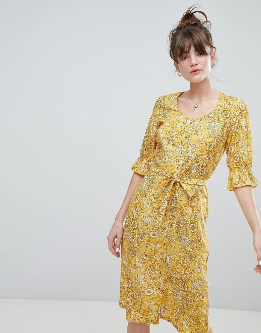LEON AND HARPER Retro Midi Yellow / Floral Printed Dress