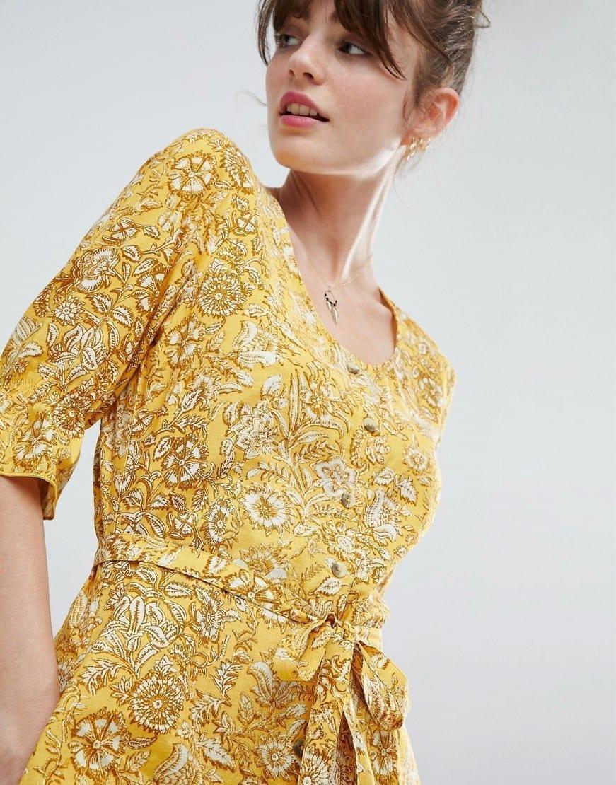 LEON AND HARPER Retro Midi Yellow / Floral Printed Dress