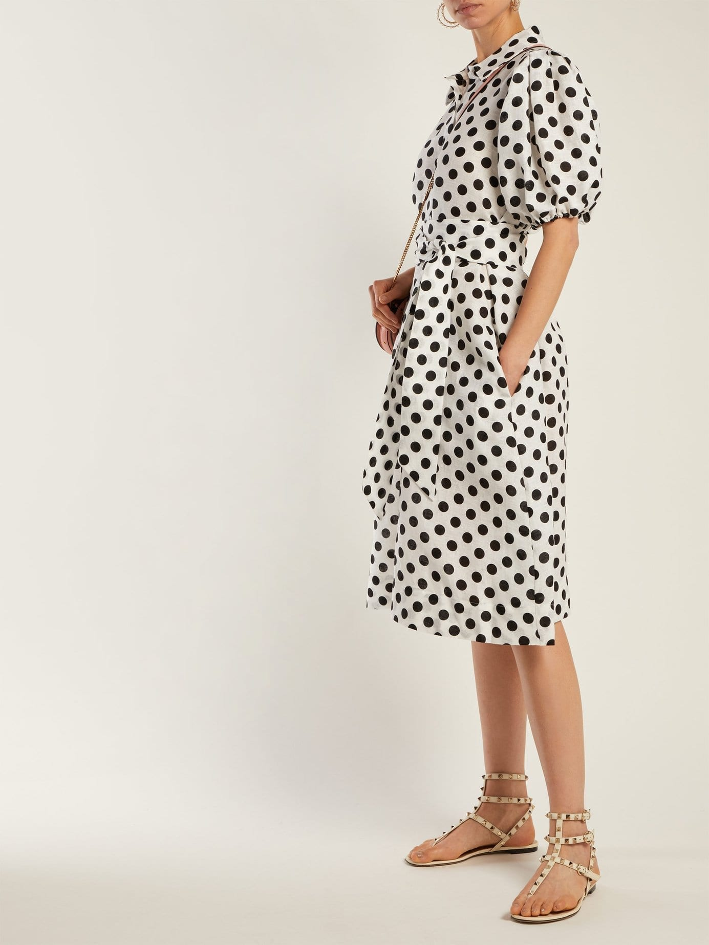 LISA MARIE FERNANDEZ Polka-Dot Linen White Shirtdress