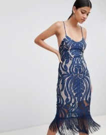 LOVE TRIANGLE Fringing Detail With Cami Strap Lace Navy Dress