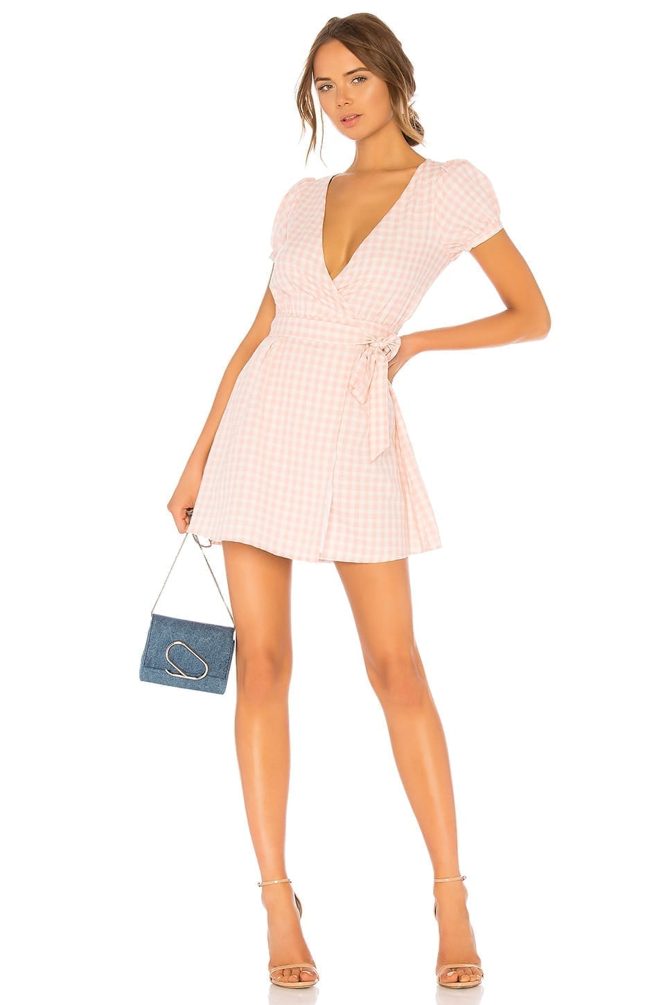 Lpa Back Cutout Wrap Baby Pink Dress