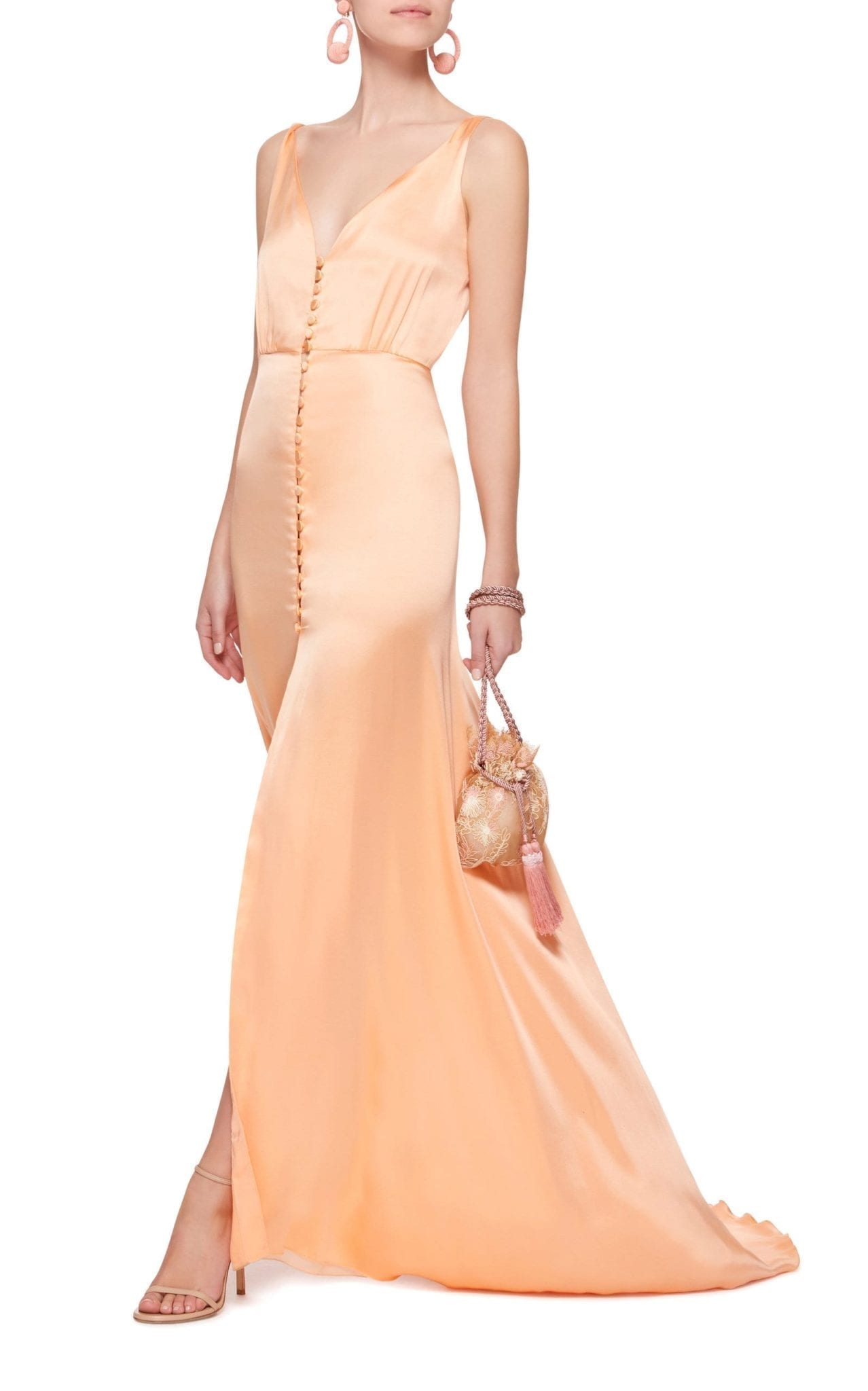 LUISA BECCARIA Button Front Satin Camisole Pink Dress