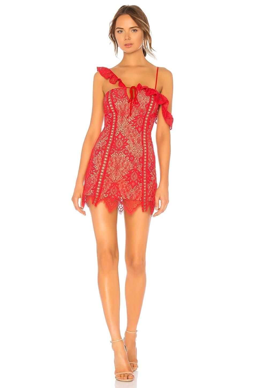 MAJORELLE Marjorie Mini Scarlet Red Dress