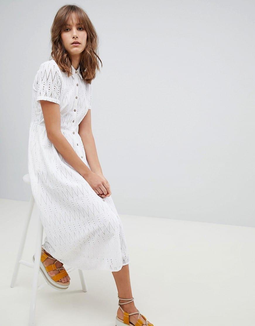 MANGO Broderie Midi White Dress