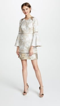 MARCHESA NOTTE Brocade Cocktail Ivory Dress