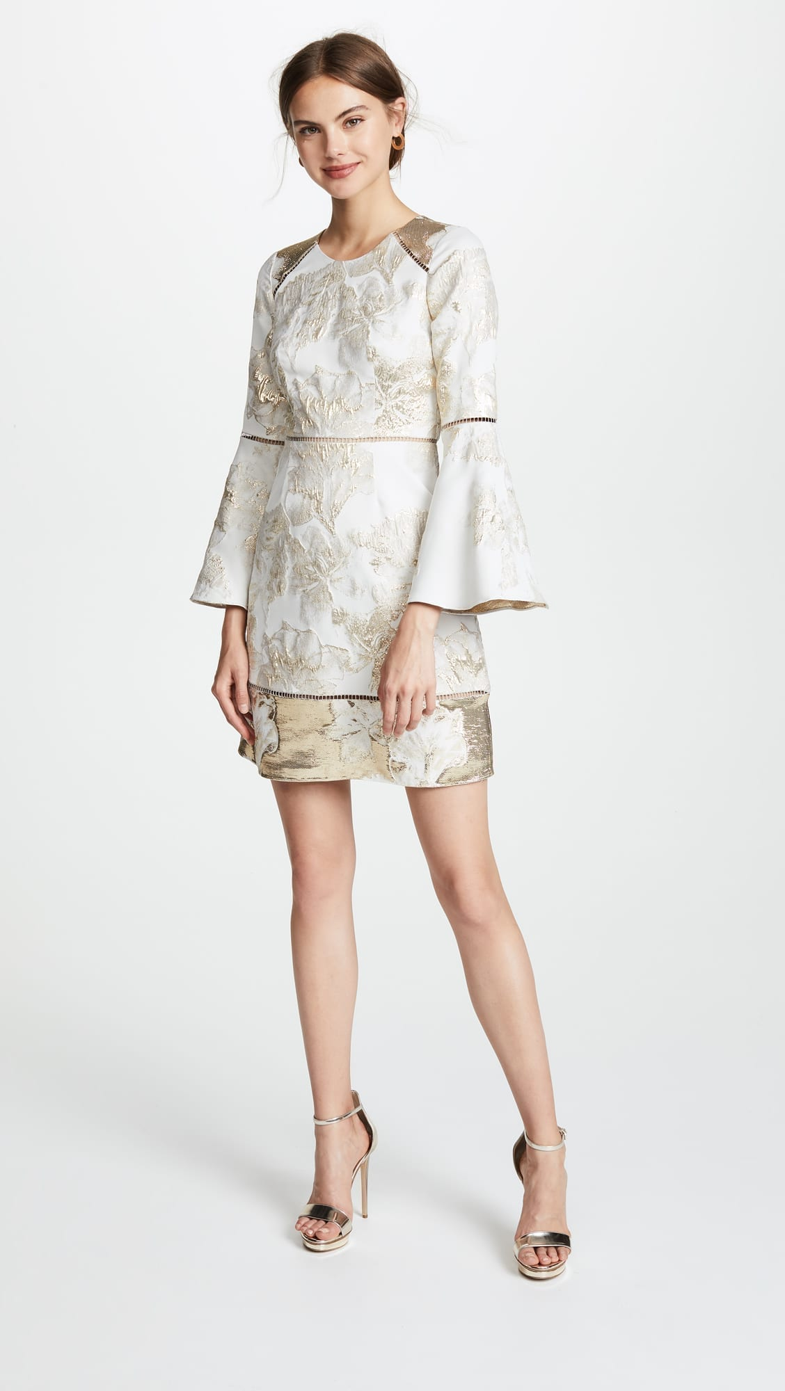 MARCHESA NOTTE Brocade Cocktail Ivory Dress