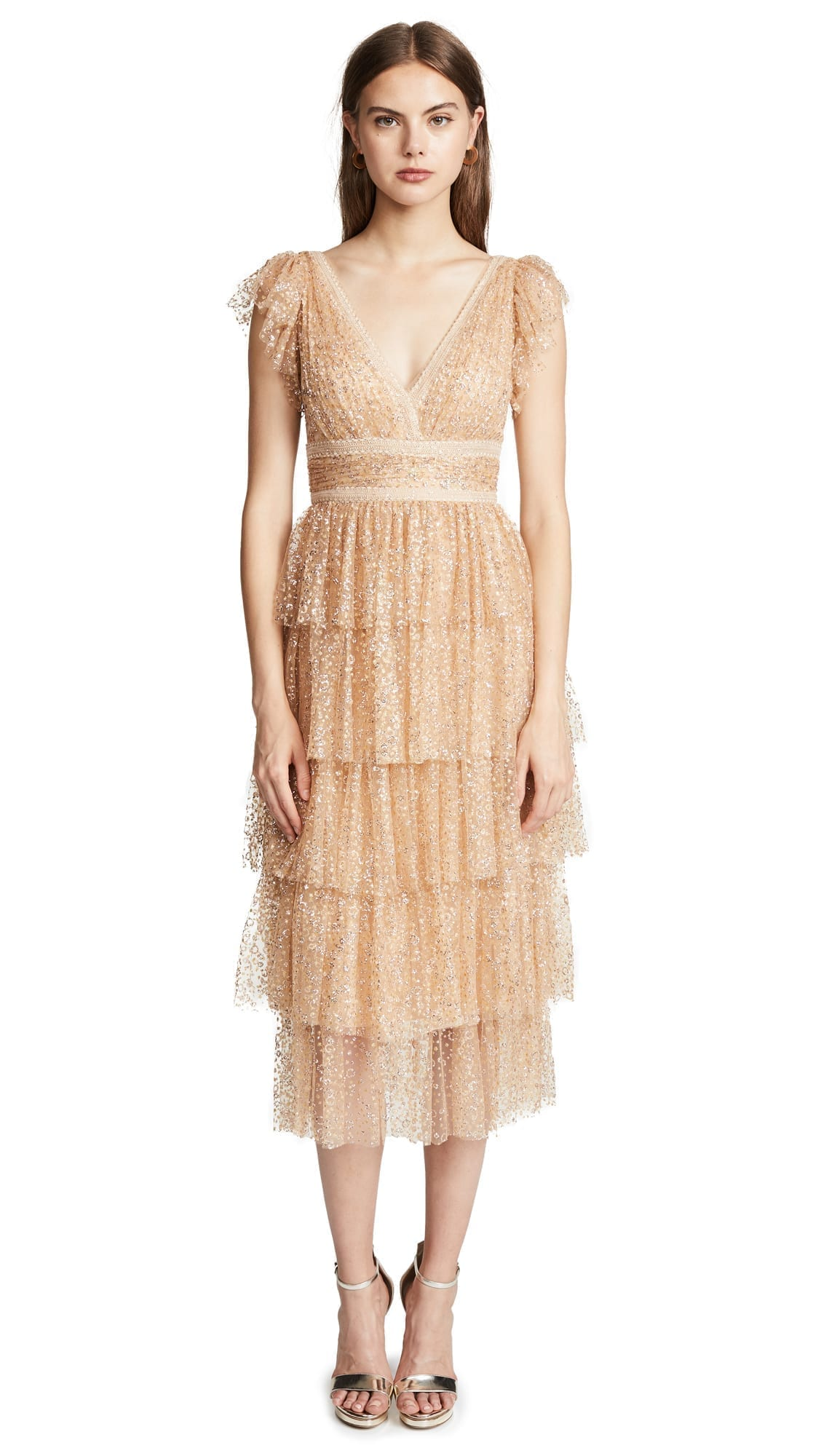 MARCHESA NOTTE Glitter Tulle Cocktail Champagne Dress