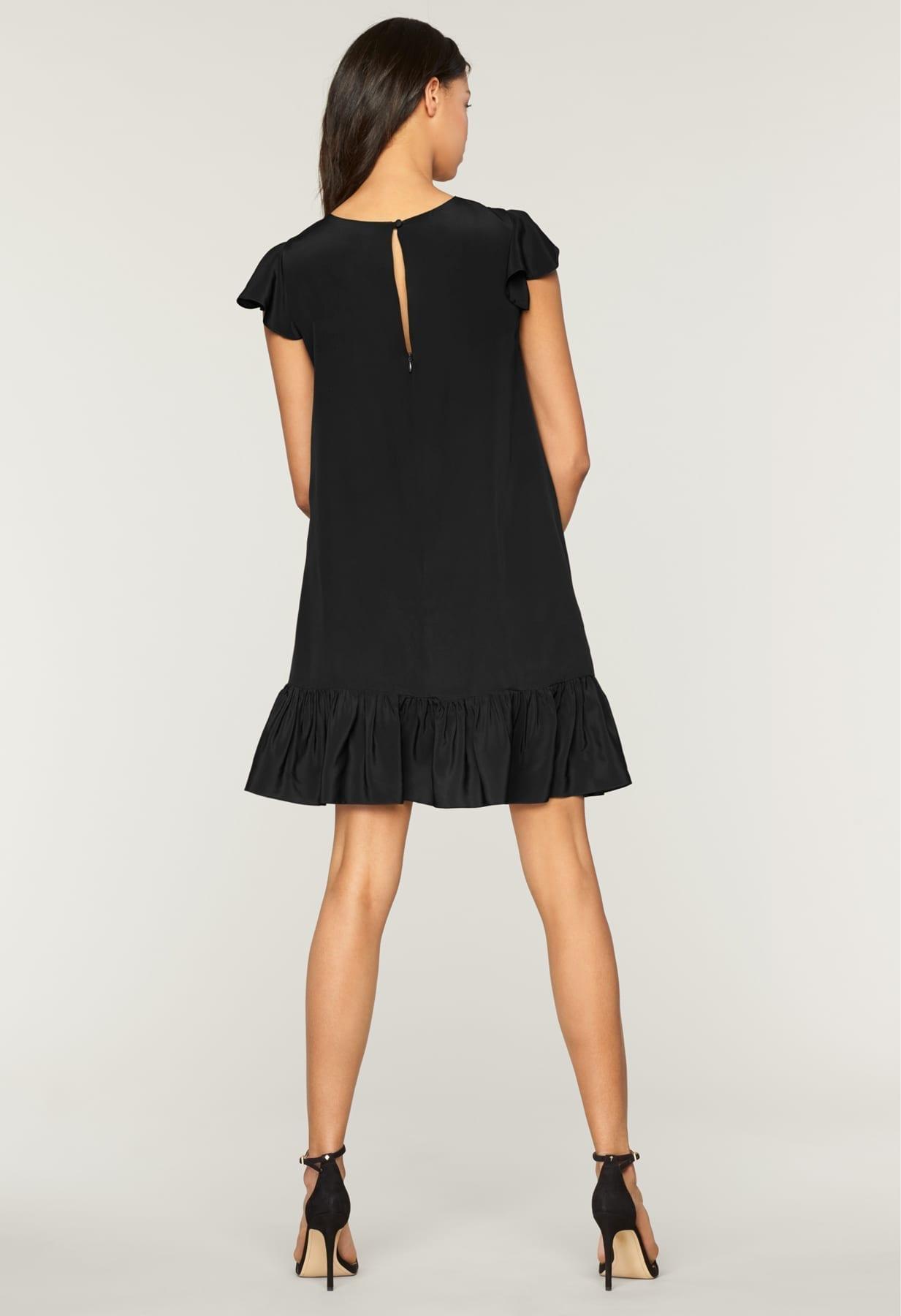 MILLY Washed Silk Jill Black Dress