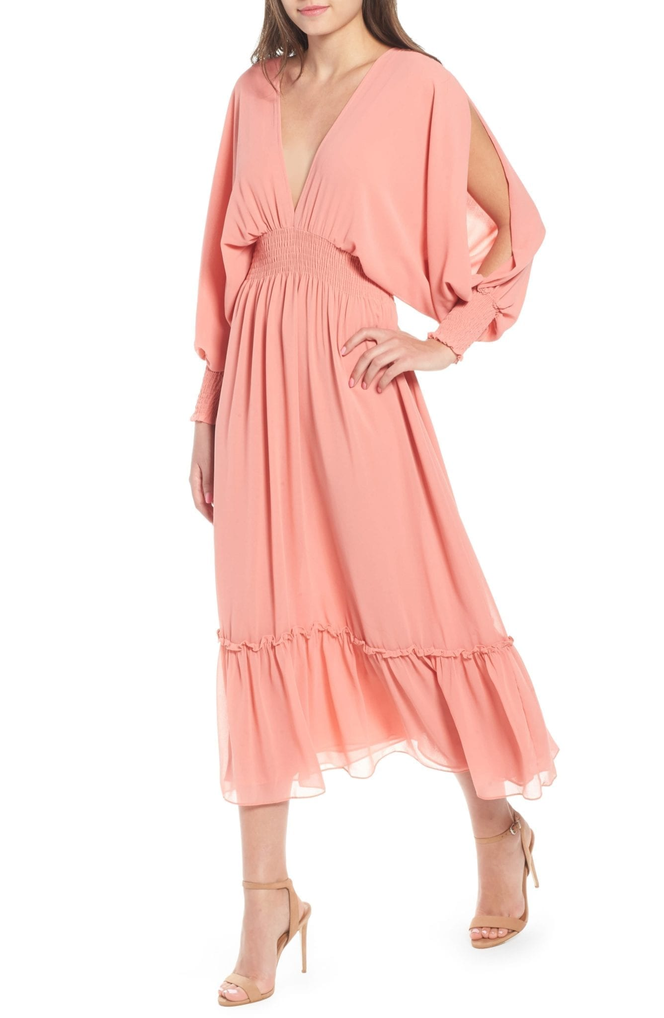MISA LOS ANGELES Margaux Midi Blush Dress