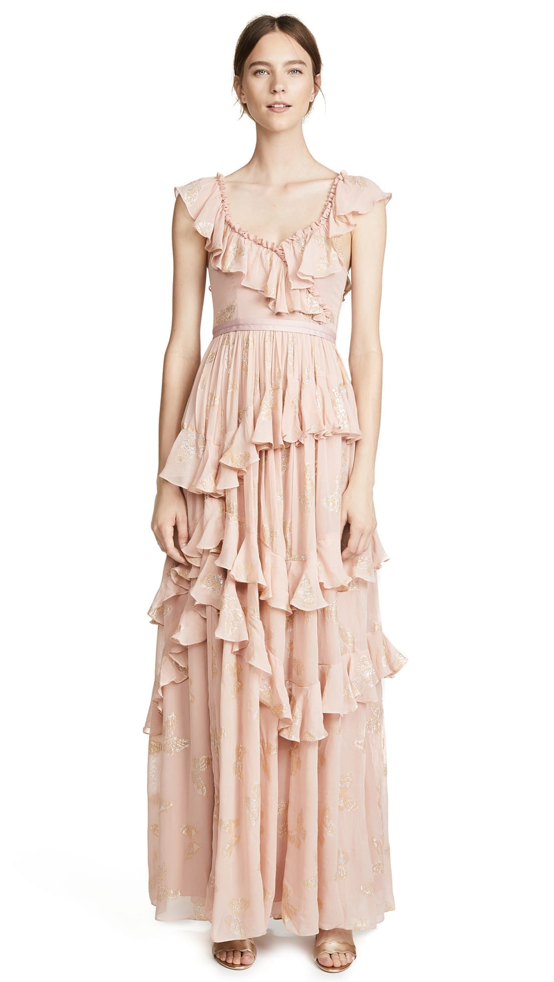 NEEDLE & THREAD Metallic Butterfly Vintage Rose Gown