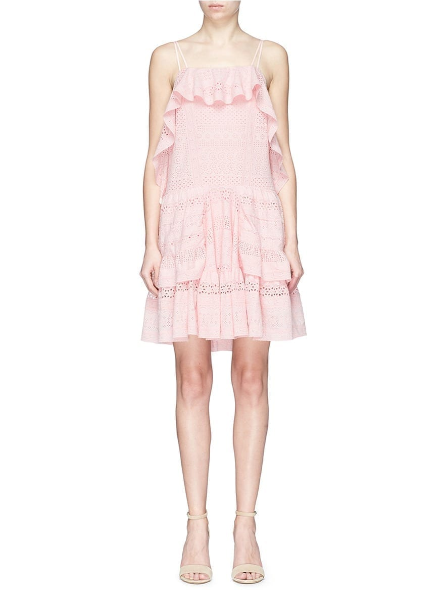 NEEDLE & THREAD Ruffle Broderie Anglaise Pink Dress