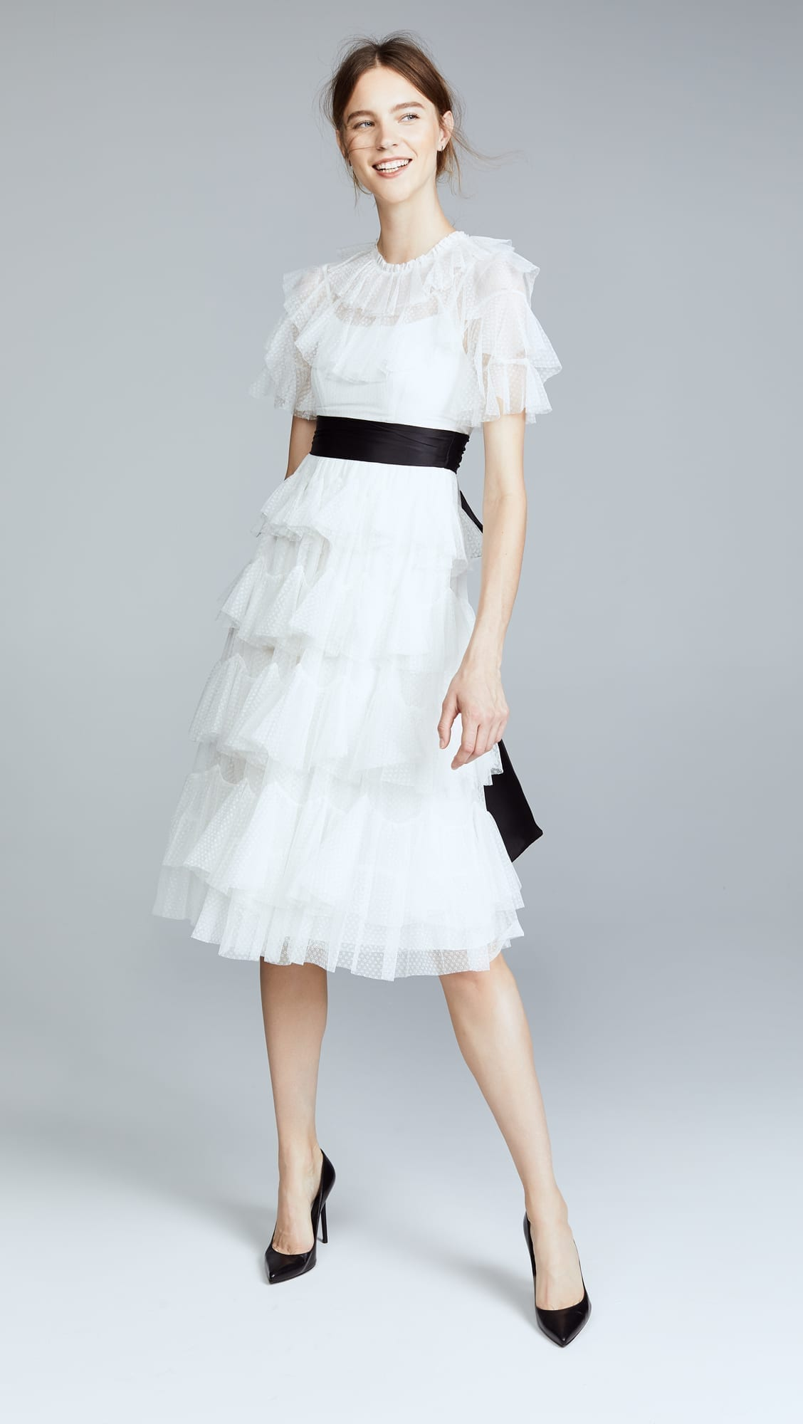 NEEDLE & THREAD Scallop Tulle Midi Pearl Dress