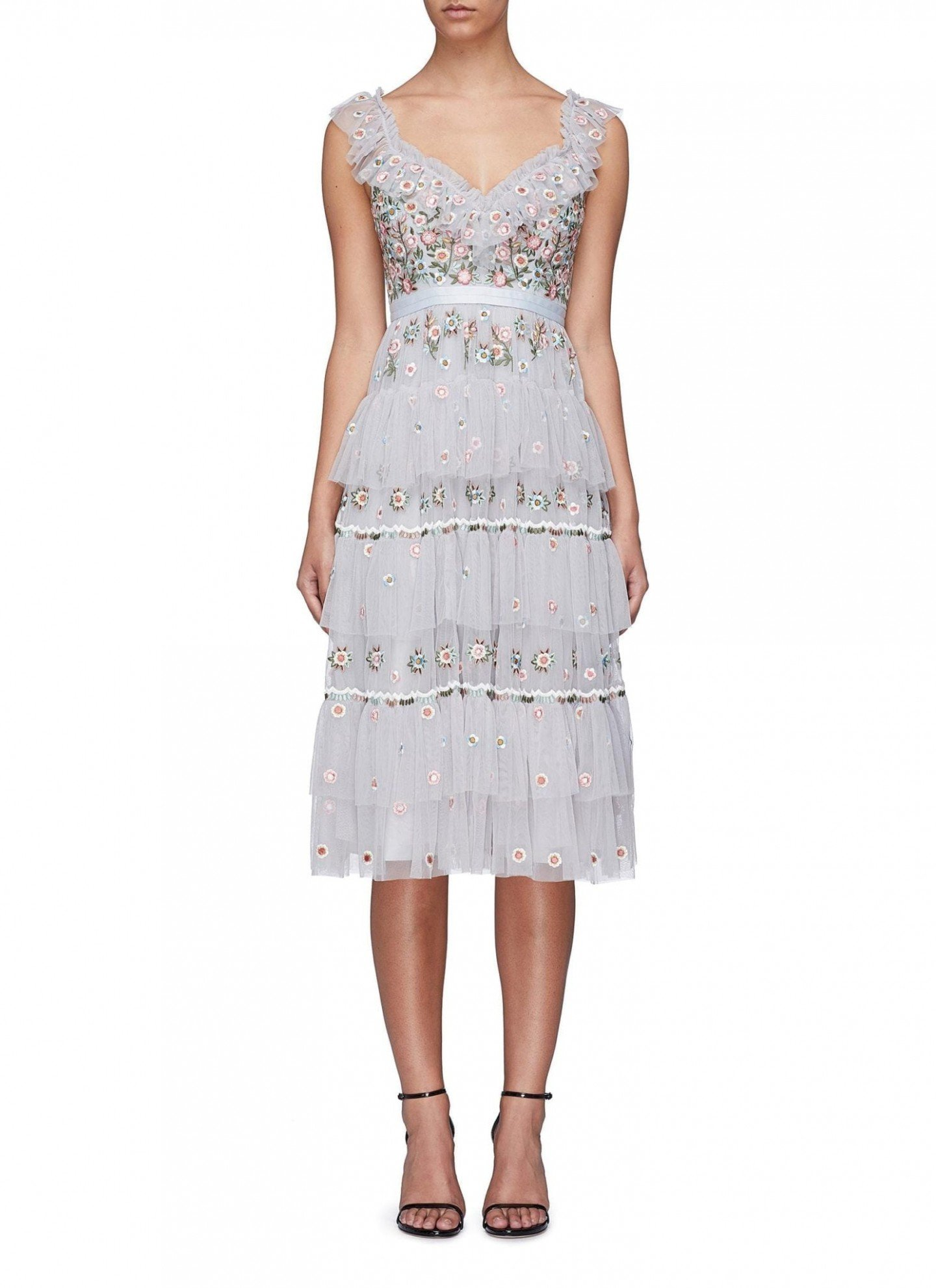 NEEDLE & THREAD 'Whimsical' Floral Embroidered Tiered Tulle Powder Blue Dress