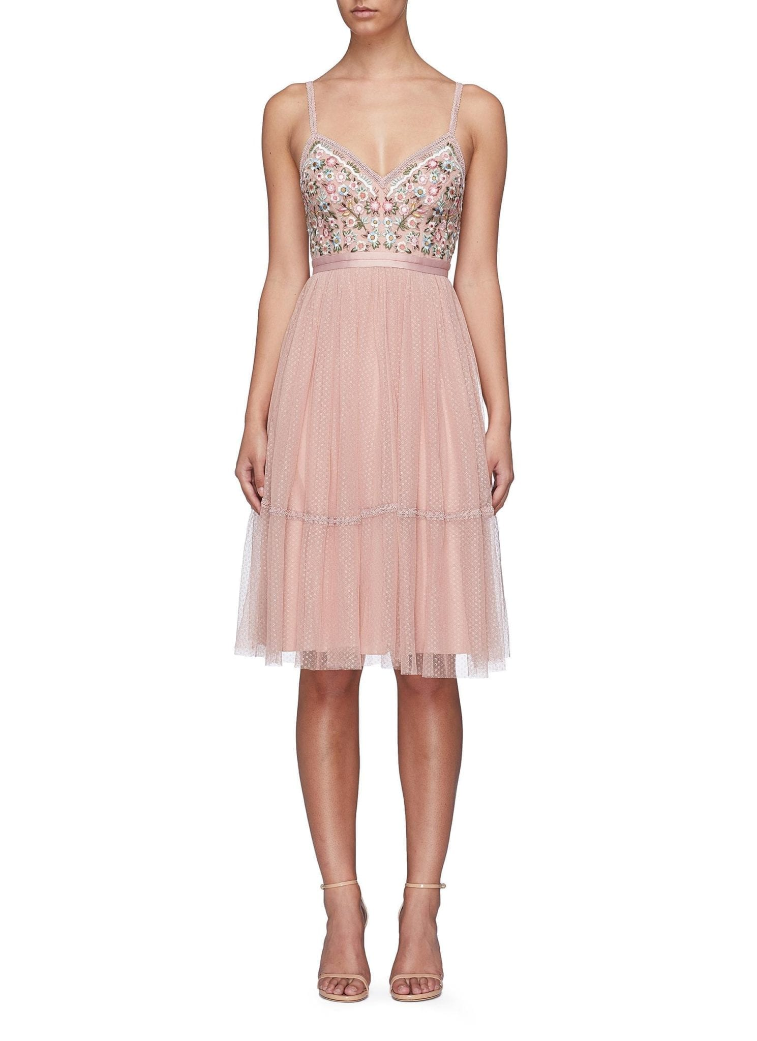 NEEDLE & THREAD 'Whimsical' Floral Embroidered Tulle Pink Dress