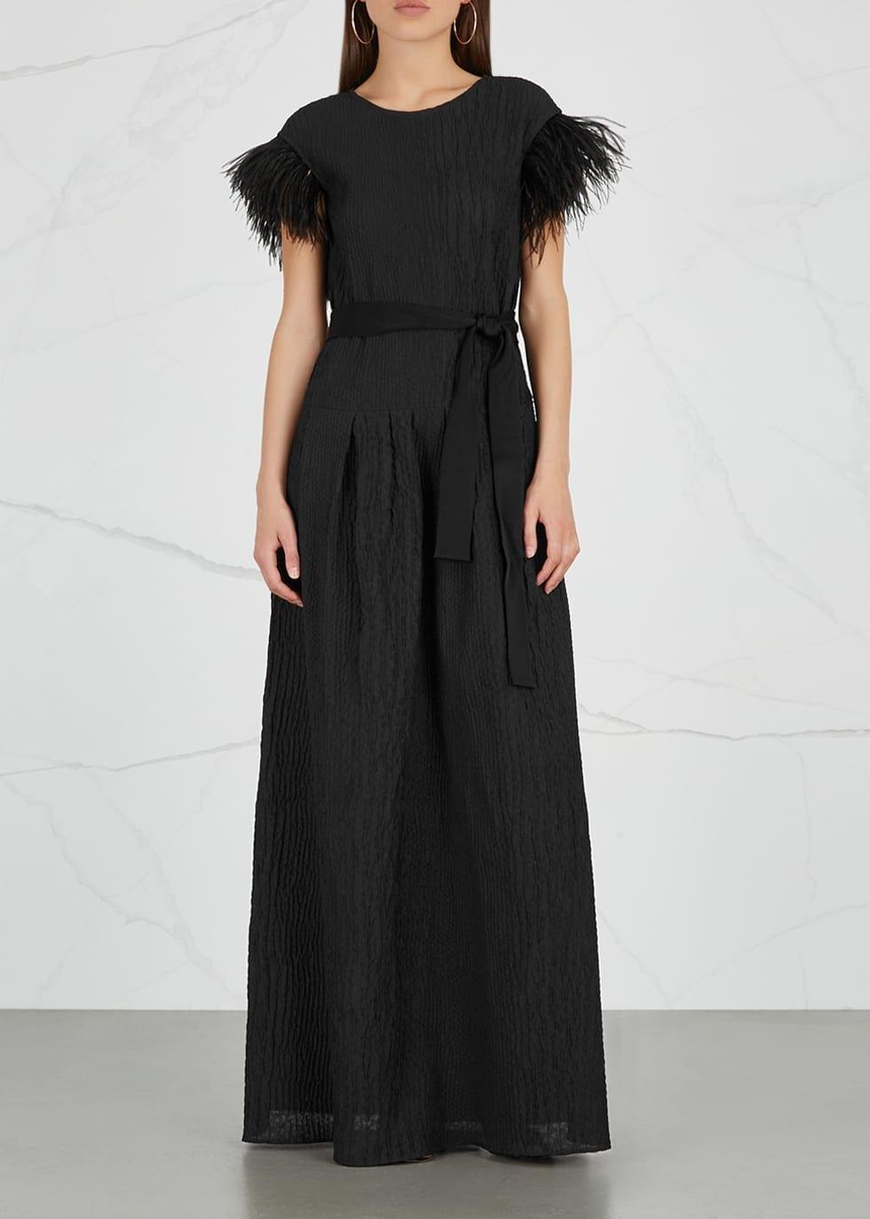 PAULE KA Feather Embellished Organza Black Gown - We Select Dresses