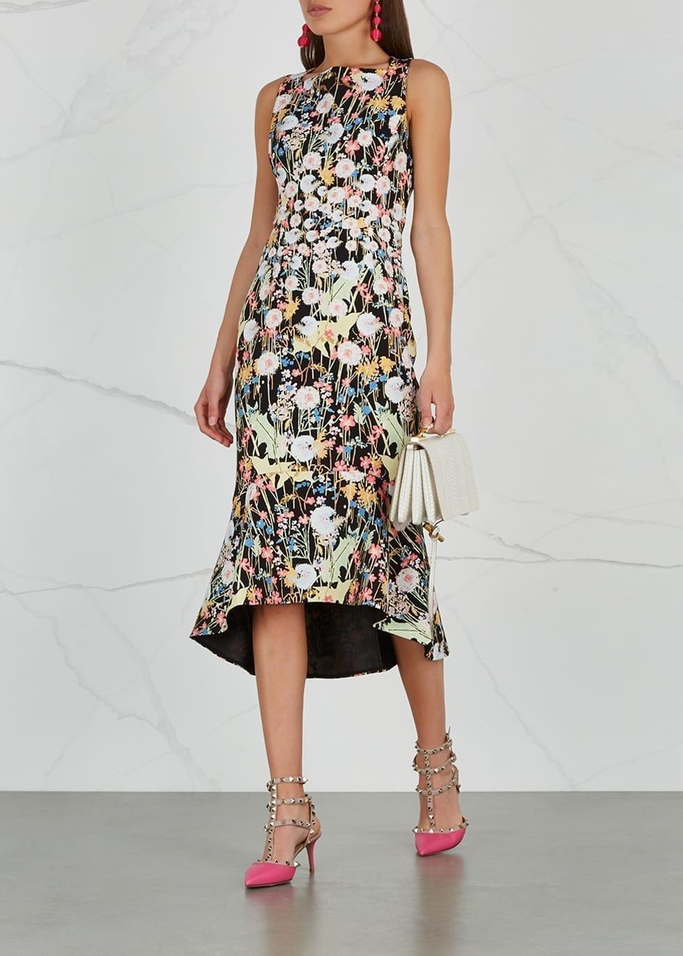 PETER PILOTTO Kia Cady Midi Black / Floral printed Dress