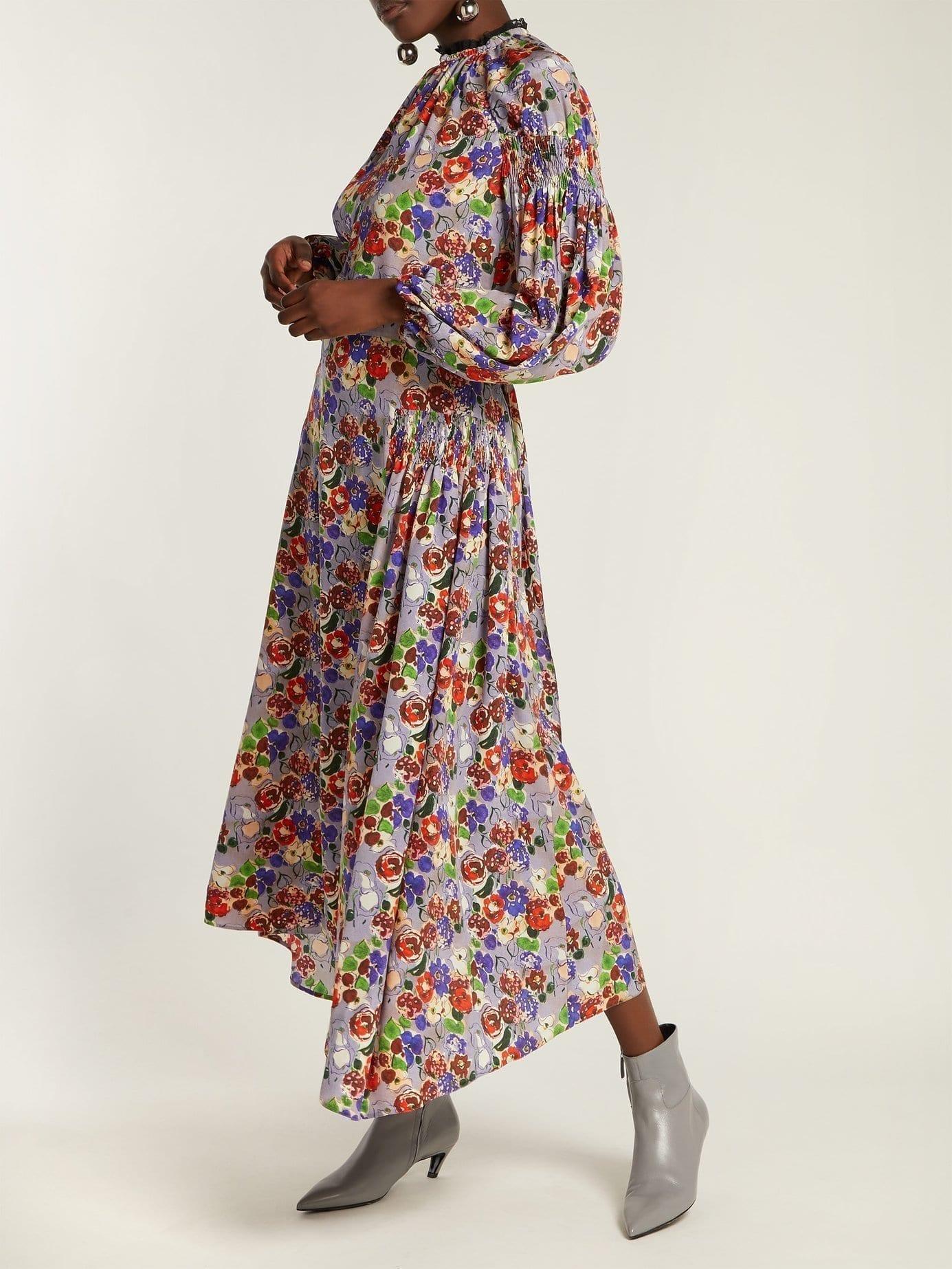 PRADA Morocaine Primrose Silk Multi / Floral Printed Dress
