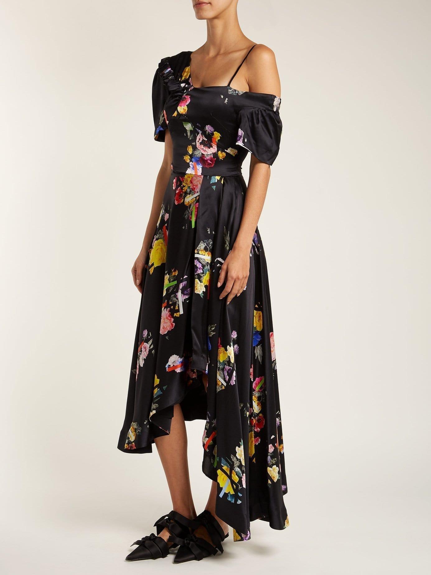 PREEN BY THORNTON BREGAZZI Irene Off The Shoulder Silk Black / Floral Printed Dress