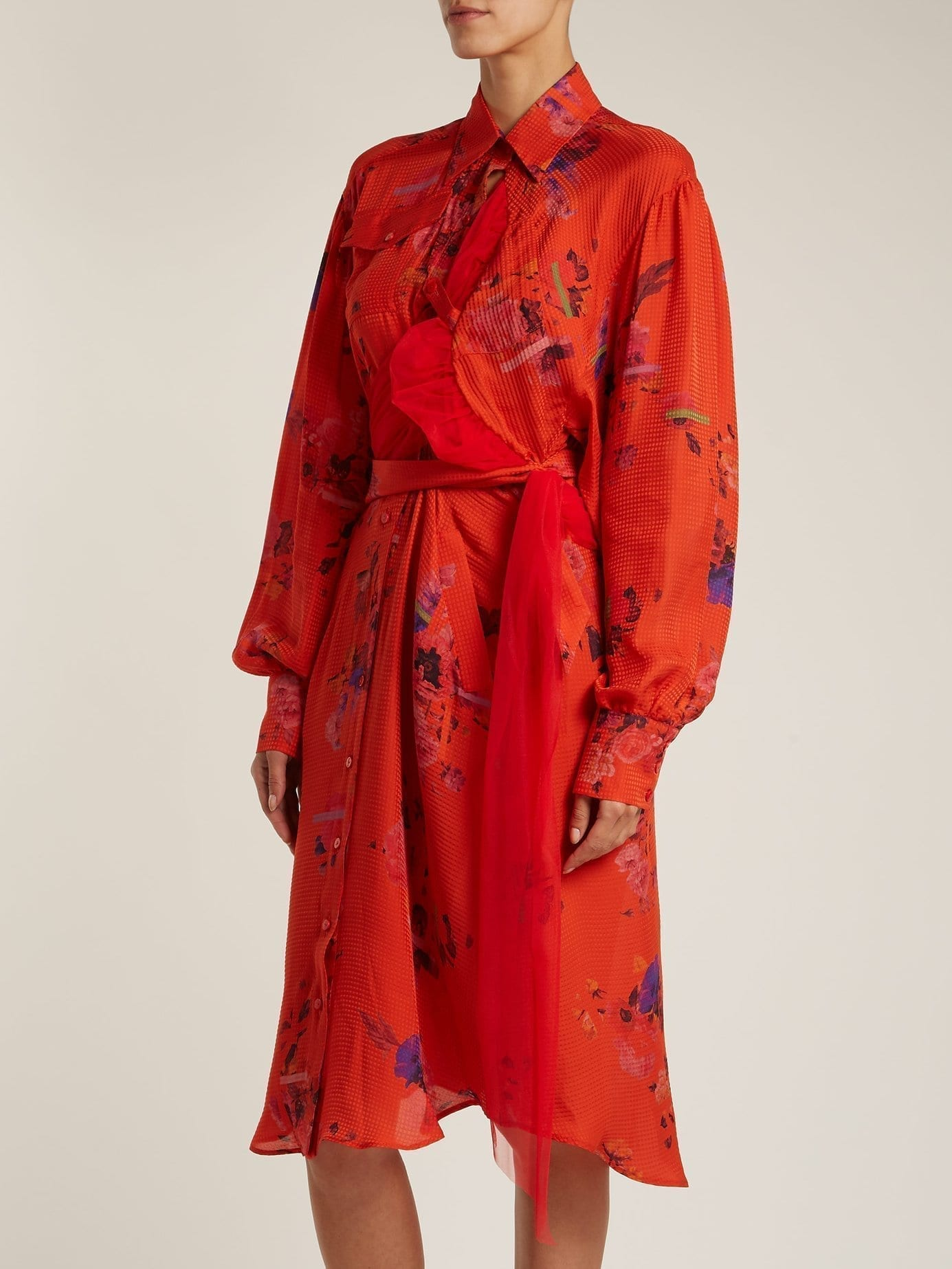 Completely new PREEN BY THORNTON BREGAZZI Susanna Silk Shirt Red / Floral Printed  LM22