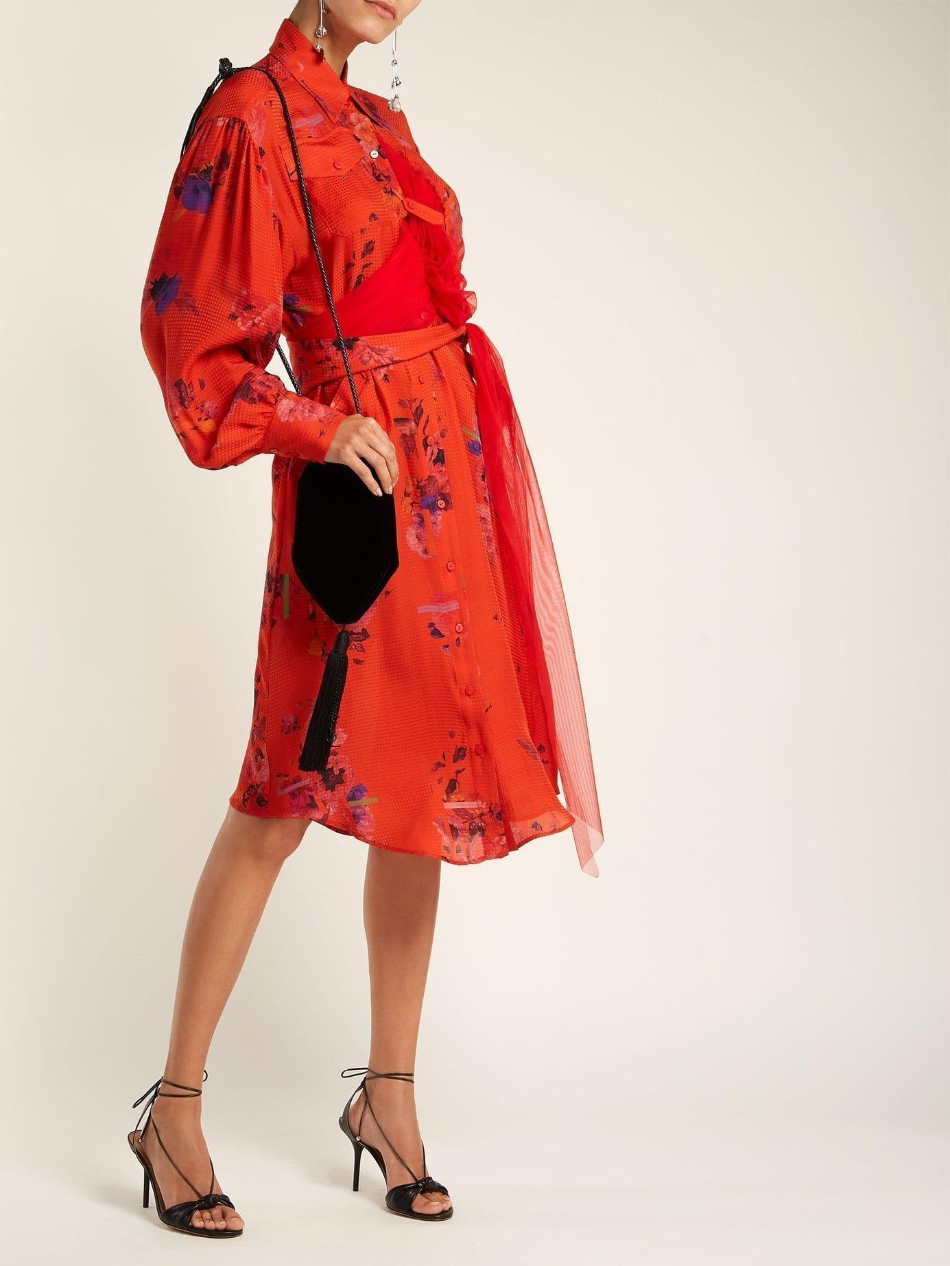 PREEN BY THORNTON BREGAZZI Susanna Silk Shirt Red / Floral Printed Dress