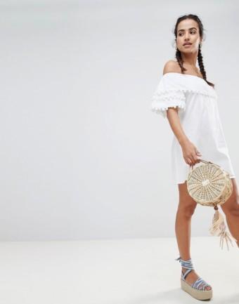 PRETTYLITTLETHING Pom Trim Bardot White Dress