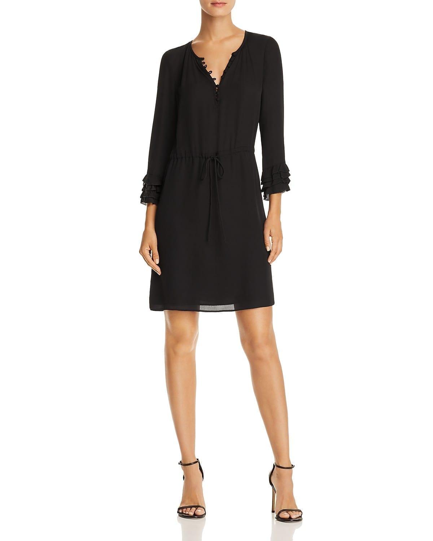 REBECCA TAYLOR Ruffled Silk Georgette Black Dress