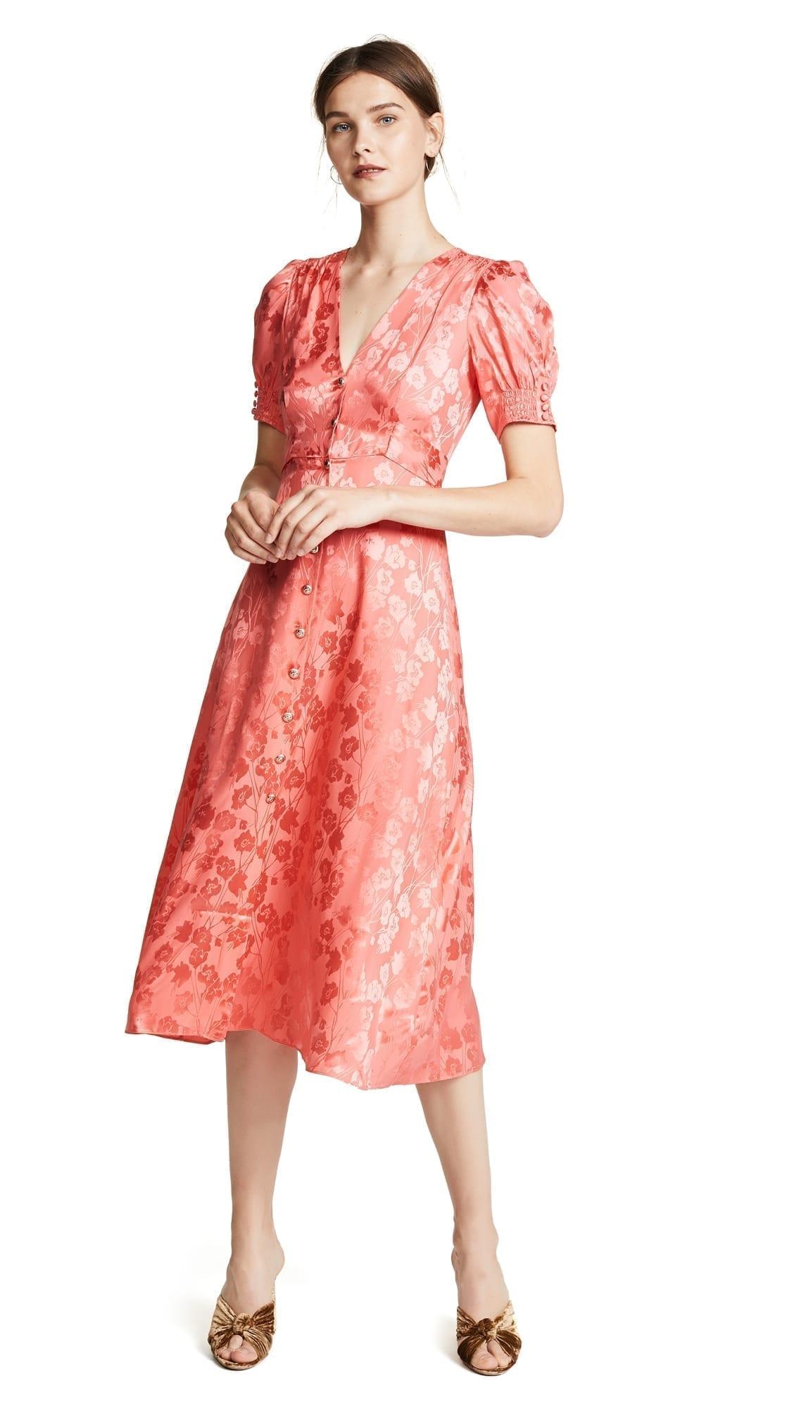 SALONI Lea Bright Coral Dress