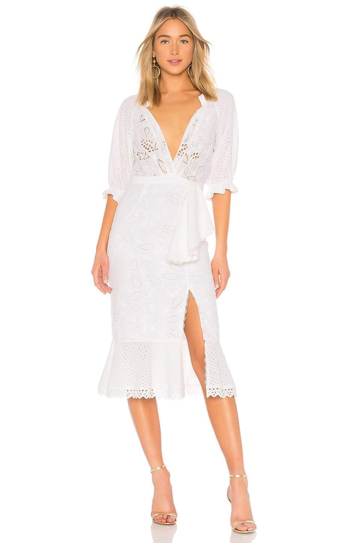 SALONI Olivia Cotton French Lace White Dress