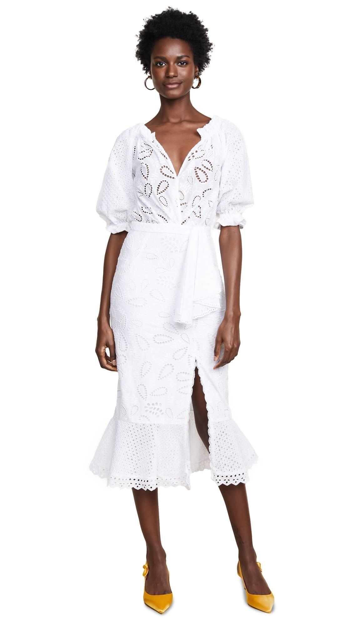 SALONI Olivia French Lace White Dress