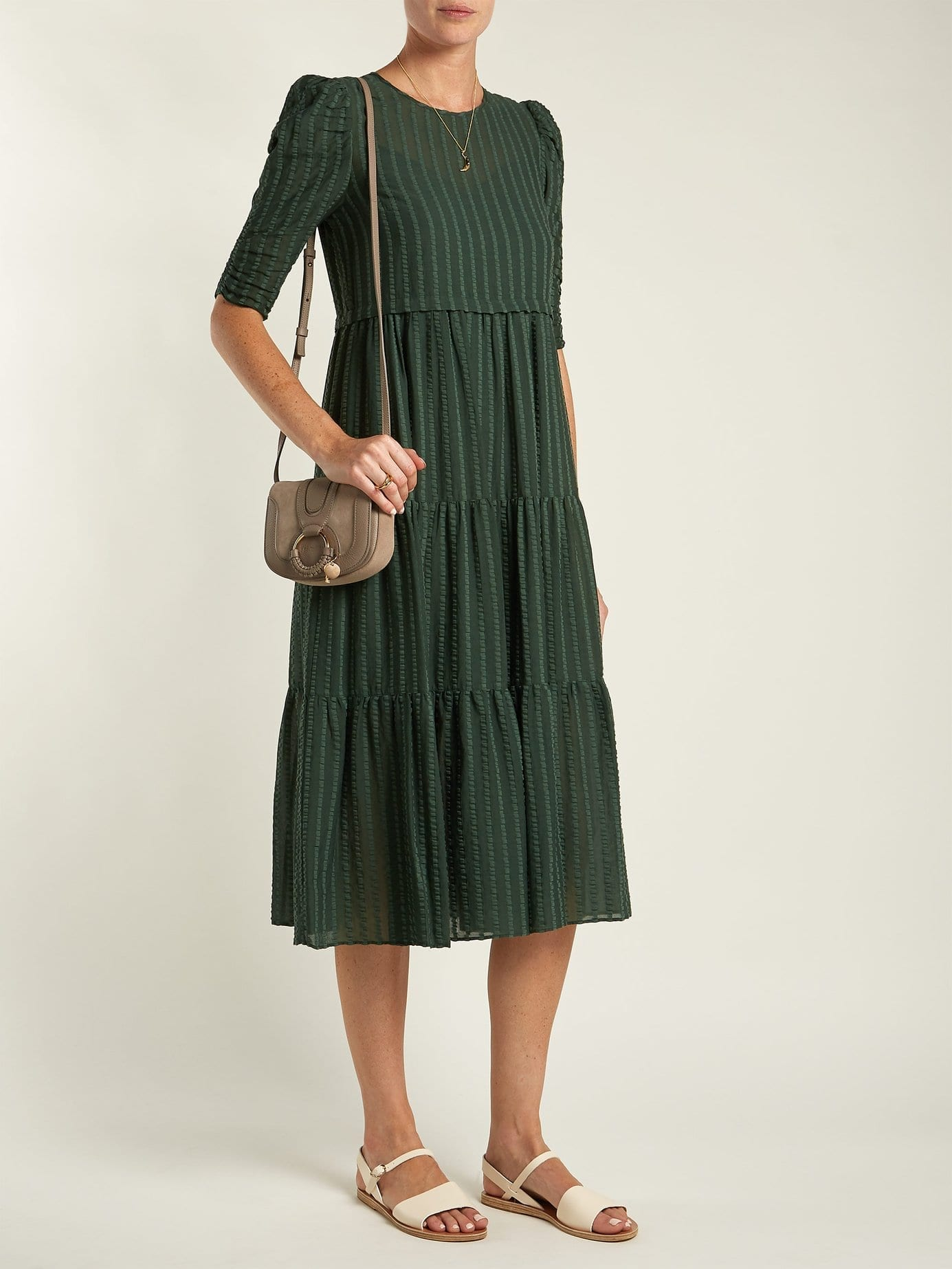 See By ChloÉ Tiered Cotton Voile Midi Dark Green Dress