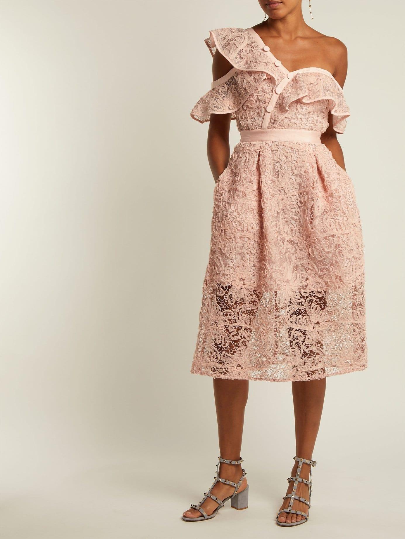 SELF-PORTRAIT Asymmetric Floral Lace Midi Light Pink Dress