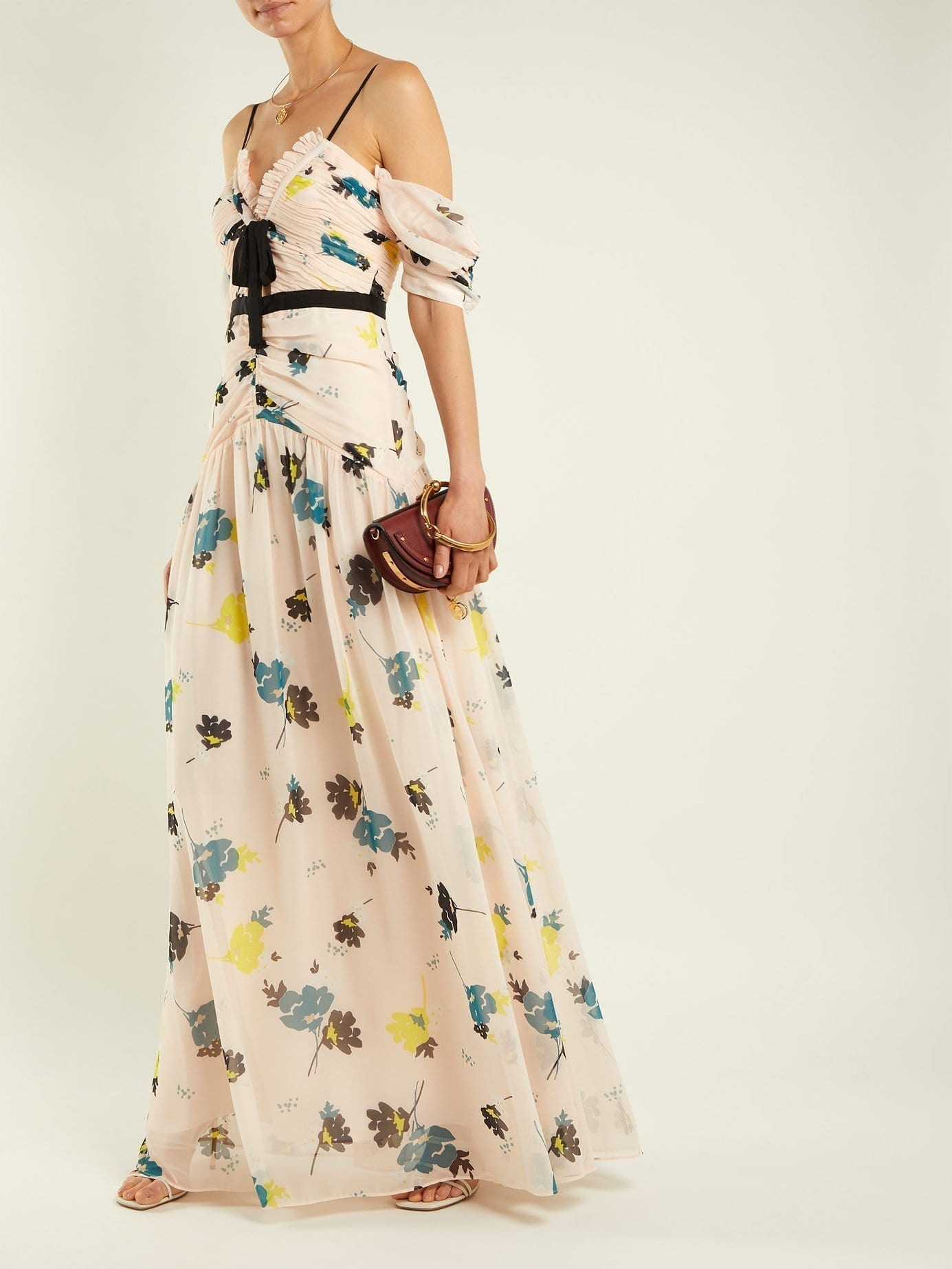 SELF-PORTRAIT Chiffon Maxi Light Pink / Floral Printed Dress