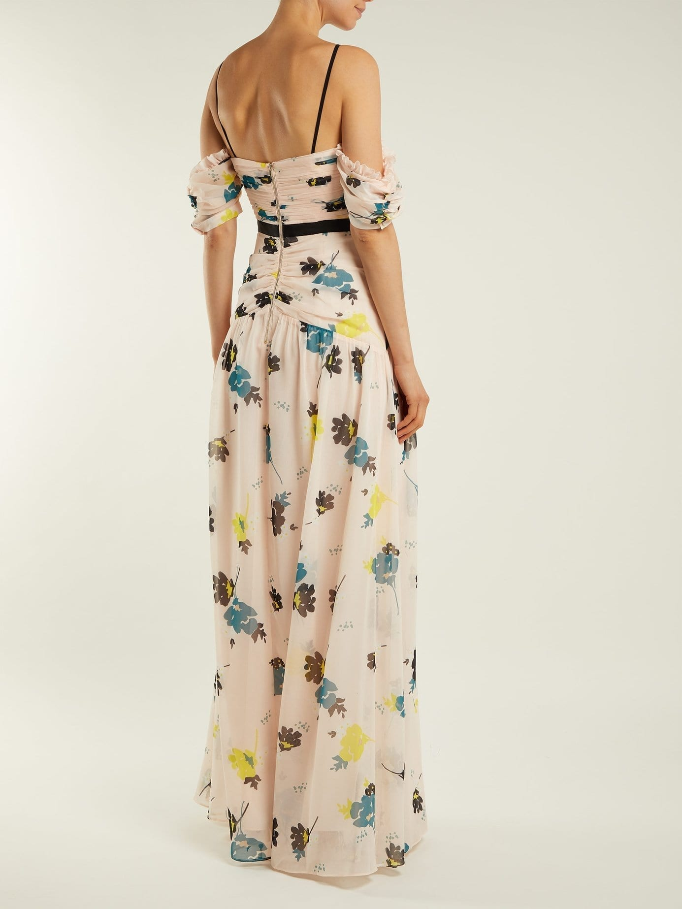 77db9d6066446 SELF-PORTRAIT Chiffon Maxi Light Pink / Floral Printed Dress - We ...