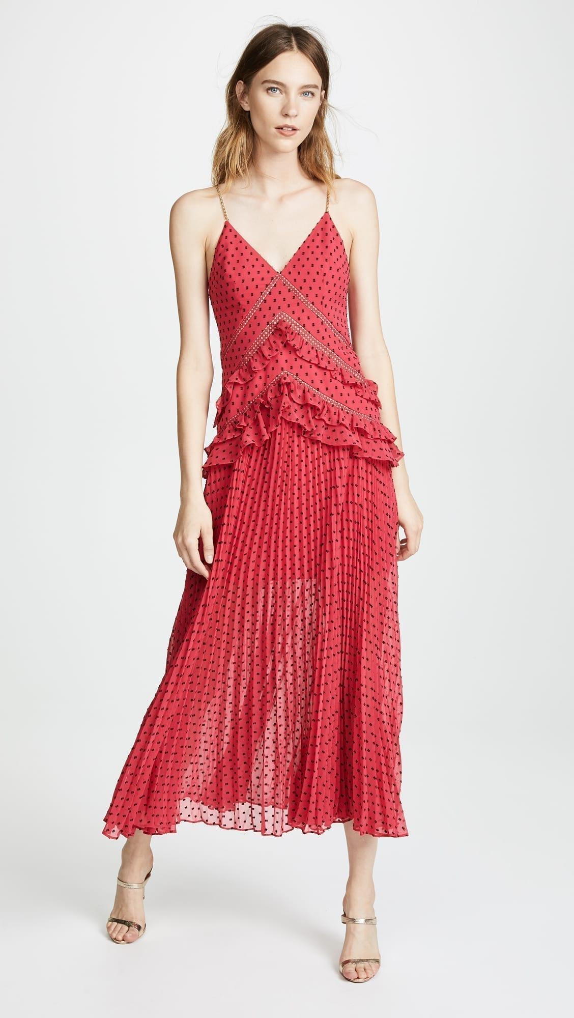 SELF PORTRAIT Panelled Maxi Fuchsia Dress