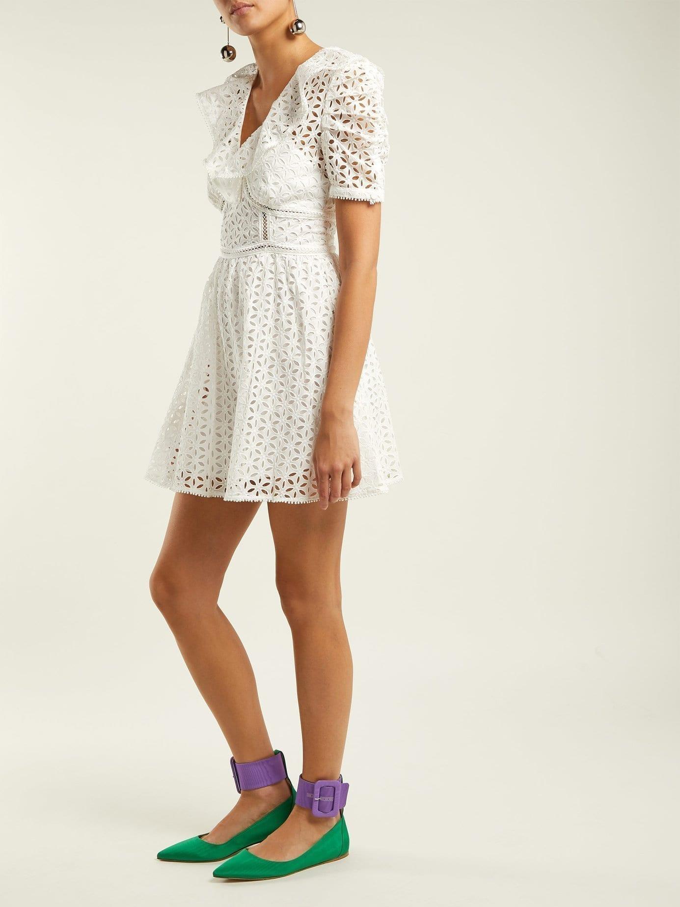 SELF-PORTRAIT Petal-Embroidered Cotton Mini White Dress
